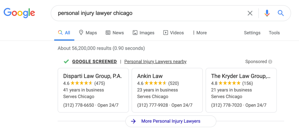 "A Google search result page for ""personal injury lawyer chicago"" displays Google local service ads."