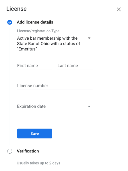 lawyer license verification google local services ad set up