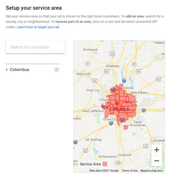 set up your service area screenshot
