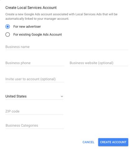 Create Local services account screenshot