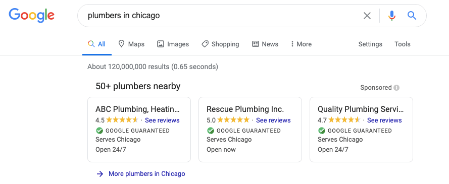 Google local services ads for plumbers in Chicago