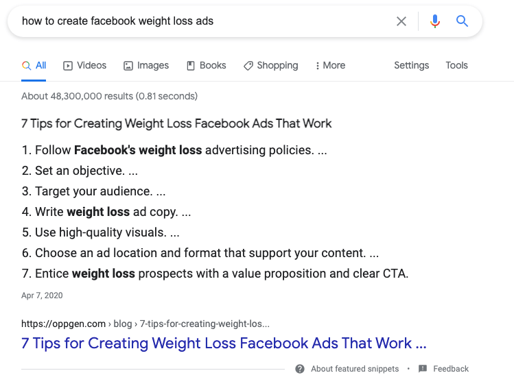 "A Google search results page snippet for ""how to create facebook weight loss ads"""
