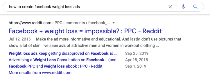 "A Google rich snippet for ""how to create facebook weight loss ads"""
