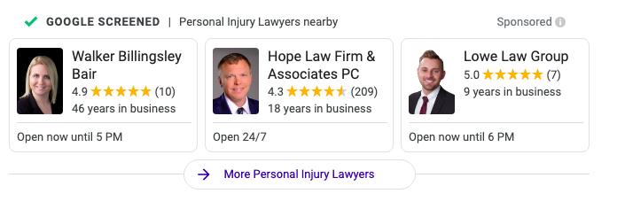 A screenshot of Google local services ads for personal injury lawyers