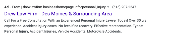 A screenshot of a personal injury lawyer search ad