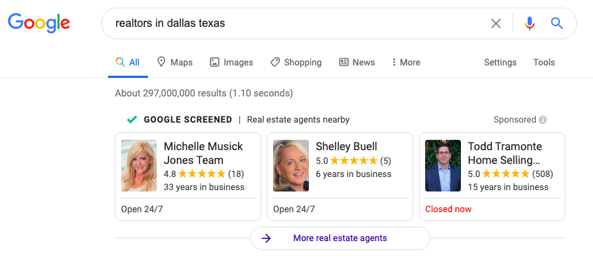 Google Screened realtors in Dallas, Texas