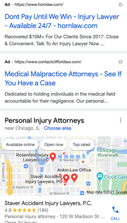 """more paid search ads and a maps ad for """"personal injury attorney Chicago"""""""