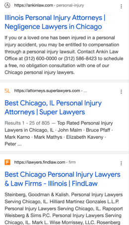 """organic search results for the keyword phrase """"personal injury attorney Chicago"""""""