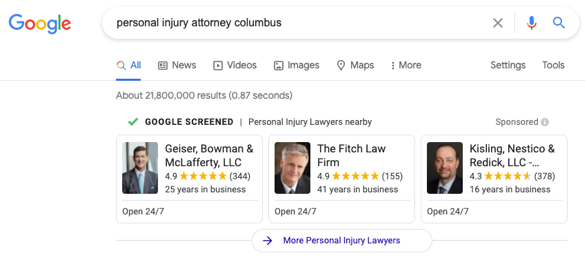 local services ads of personal injury attorneys in Columbus