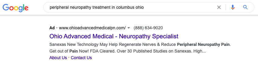 peripheral neuropathy search ad on Google