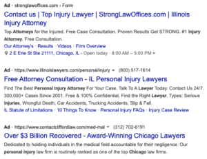 personal injury law firm search ppc ads